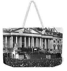 Weekender Tote Bag featuring the photograph Abraham Lincolns First Inauguration - March 4 1861 by International  Images