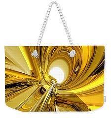 Weekender Tote Bag featuring the digital art Abstract Gold Rings by Phil Perkins