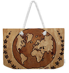 Abstract World Globe Map Coffee Painting Weekender Tote Bag