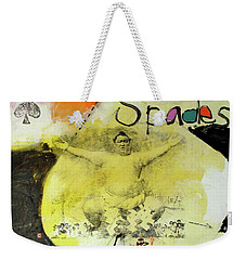 Weekender Tote Bag featuring the mixed media Ace Of Spades 25-52 by Cliff Spohn
