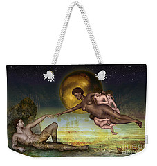 Adam Creation Revisited She Is Black Weekender Tote Bag by Rosa Cobos