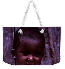 Weekender Tote Bag featuring the pyrography African Little Girl by Lydia Holly