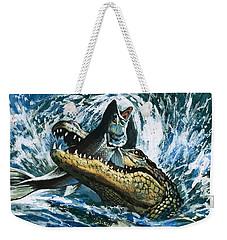 Alligator Eating Fish Weekender Tote Bag