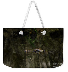 Weekender Tote Bag featuring the photograph Alligator In Swamp by Dan Friend