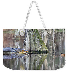 Weekender Tote Bag featuring the photograph Alligator Waiting For Dinner by Dan Friend