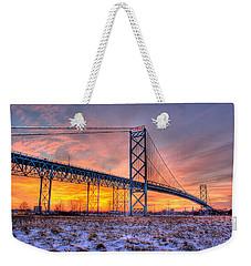 Ambassador Bridge Sunrise 1-16-2012  Detroit Mi Weekender Tote Bag
