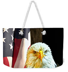 Weekender Tote Bag featuring the photograph American Eagle And American Flag by Randall Branham