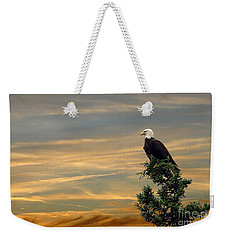 Weekender Tote Bag featuring the photograph American Eagle Sunset by Dan Friend