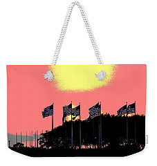 Weekender Tote Bag featuring the photograph American Flags1 by Zawhaus Photography