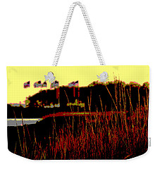 Weekender Tote Bag featuring the photograph American Flags2 by Zawhaus Photography