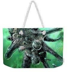 Weekender Tote Bag featuring the digital art Amoeba Green by Russell Kightley