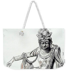 Weekender Tote Bag featuring the painting An Oriental Statue At Toledo Art Museum - Ohio- 2 by Yoshiko Mishina