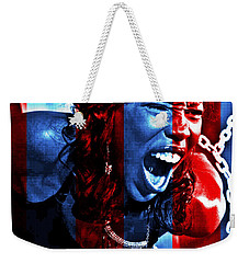 Weekender Tote Bag featuring the photograph Anger In Red And Blue by Alice Gipson