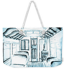 Weekender Tote Bag featuring the drawing Antique Passenger Car by Shannon Harrington