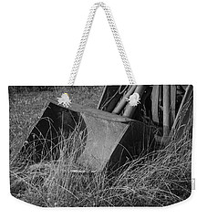 Weekender Tote Bag featuring the photograph Antique Tractor Bucket In Black And White by Jennifer Ancker