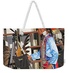 Weekender Tote Bag featuring the photograph At Blackfeet Pow Wow 03 by Ausra Huntington nee Paulauskaite