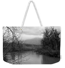 Weekender Tote Bag featuring the photograph At The River Turn Bw by Kathleen Grace