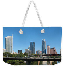 Austin Texas 2012 Skyline And Water Reflections Weekender Tote Bag by Connie Fox
