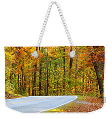 Weekender Tote Bag featuring the photograph Autumn Drive by Lydia Holly