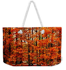 Autumn Red Maple Landscape Weekender Tote Bag
