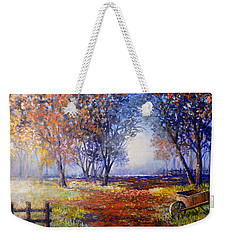 Autumn Wheelbarrow Weekender Tote Bag by Lou Ann Bagnall