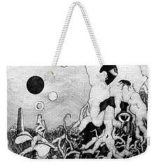 Weekender Tote Bag featuring the drawing Axis Mundi by Mariusz Zawadzki