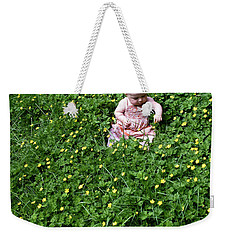 Baby In A Field Of Flowers Weekender Tote Bag