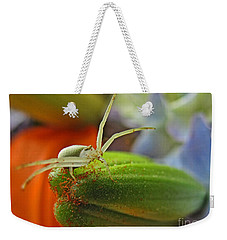 Weekender Tote Bag featuring the photograph Back Off by Debbie Portwood