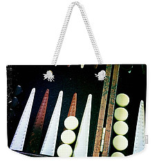 Weekender Tote Bag featuring the photograph Backgammon Anyone by Nina Prommer
