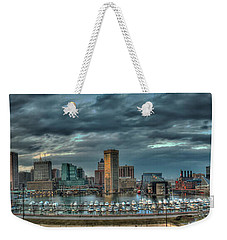 Weekender Tote Bag featuring the photograph Baltimore Inner Harbor Pano by Mark Dodd