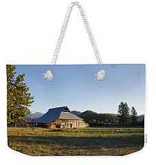Weekender Tote Bag featuring the photograph Barn In The Applegate by Mick Anderson