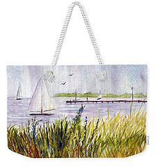Weekender Tote Bag featuring the painting Barnegat Sails by Clara Sue Beym