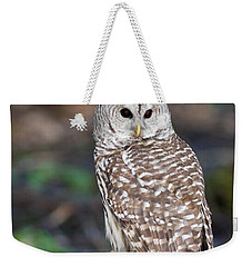Weekender Tote Bag featuring the photograph Barred Owl by Les Palenik