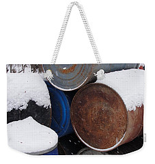 Weekender Tote Bag featuring the photograph Barrel Of Food by Tiffany Erdman