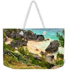 Weekender Tote Bag featuring the photograph Bermuda Hidden Beach by Verena Matthew