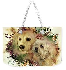 Weekender Tote Bag featuring the digital art Best Friends by Kathy Tarochione