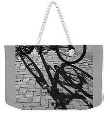 Bicycle Shadows In Black And White Weekender Tote Bag by Suzanne Gaff