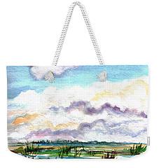 Weekender Tote Bag featuring the painting Big Clouds by Clara Sue Beym