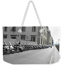 Weekender Tote Bag featuring the photograph Bikes by Laurel Best