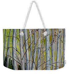 Weekender Tote Bag featuring the painting Birch Forest by Julie Brugh Riffey