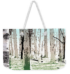 Weekender Tote Bag featuring the digital art Birch Forest by Phil Perkins