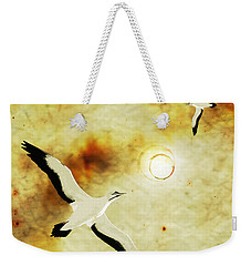 Weekender Tote Bag featuring the digital art Birds Of The Sun by Phil Perkins