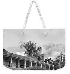 Weekender Tote Bag featuring the photograph Black And White Delaware Casino by Michael Frank Jr