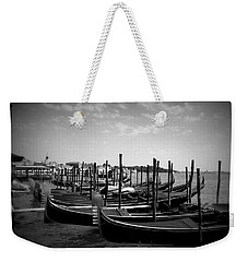 Weekender Tote Bag featuring the photograph Black And White Gondolas by Laurel Best