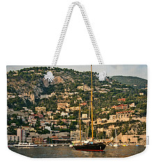 Weekender Tote Bag featuring the photograph Black Sailboat by Steven Sparks