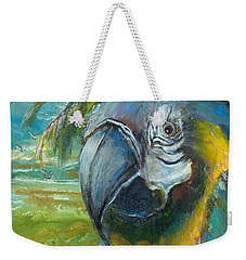Blue And Gold Macaw By The Sea Weekender Tote Bag by Bernadette Krupa