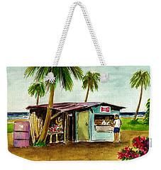 Blue Beach Shack Los Pinones Puerto Rico Weekender Tote Bag by Frank Hunter