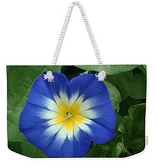 Weekender Tote Bag featuring the photograph Blue Burst by Bonfire Photography