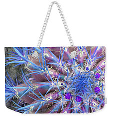 Blue Cactus Weekender Tote Bag by Rebecca Margraf
