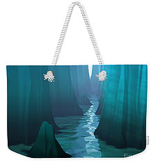 Weekender Tote Bag featuring the digital art Blue Canyon River by Phil Perkins